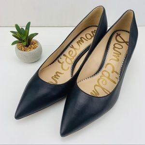 Sam Edelman Dori Black Leather Kitten Heels